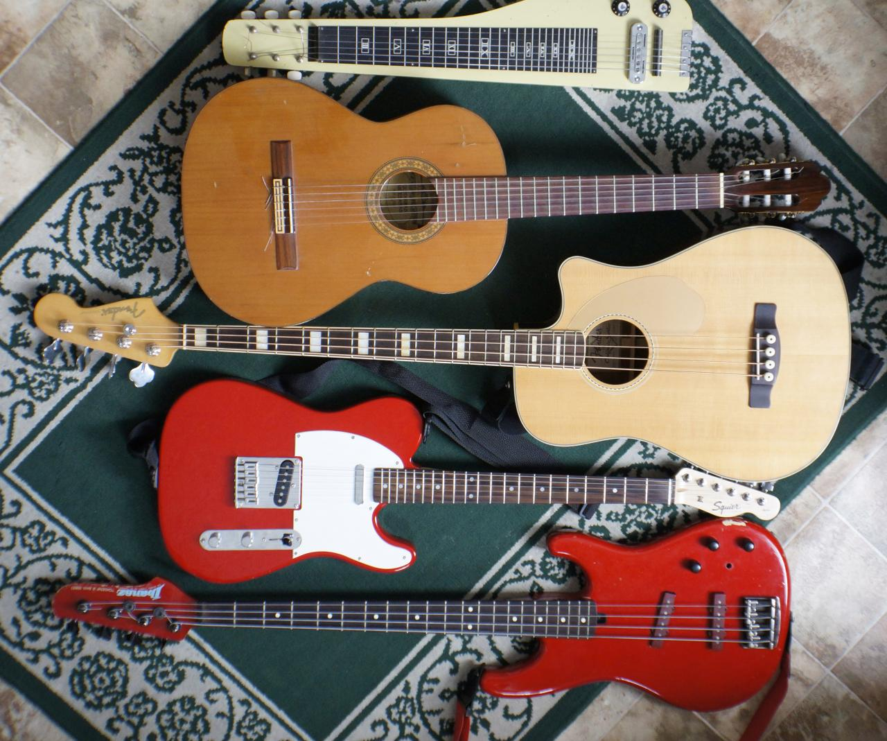 Guitars to practice: $5 yard sale lap steel, Fender Kingston bass, classical acoustic, Squier Telecaster, Ibanez bass