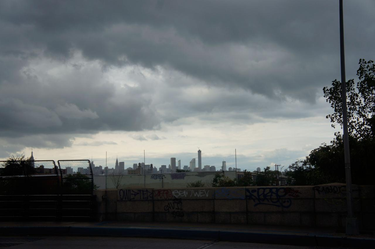 Manhattan Skyline from Metropolitan Ave, 2014, digital photograph by Orin Buck.