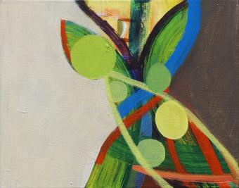 "Seed Tree, 2015, acrylic on canvas, 8""x10"""