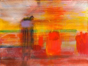 "Embers, 2016, acrylic on canvas, 9""x12"""