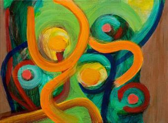 "Jungle, 2016, acrylic on canvas, 9""x12"""