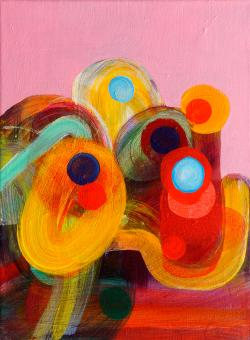 "Colors Gawking, 2016, acrylic on canvas, 12""x9"""