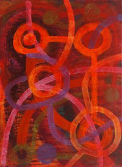 """Red World, 2015, acrylic on canvas, 12""""x9"""""""