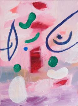 "Painting by Orin Buck, Pinkeye, 2017, acrylic on canvas, 12""x9"""