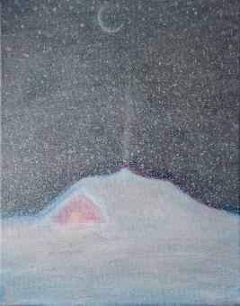 """Painting by Orin Buck, Snug 2017, acrylic on canvas, 10""""x8"""""""