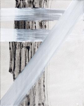 "White Strokes, 2015, acrylic on canvas, 10""x8"""