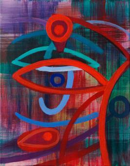 """Sea God, 2015, acrylic on canvas, 10""""x8"""""""