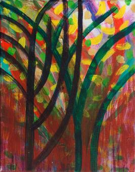 "Upward, 2015, acrylic on canvas, 10""x8"""