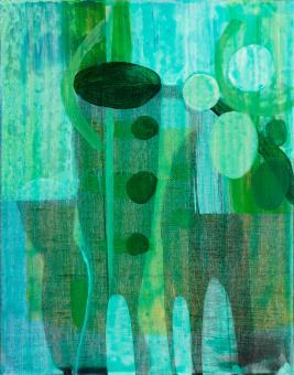 "Aqcua, 2016, Acrylic on canvas, 10""x8"""