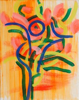 "Flowering, 2015, acrylic on canvas, 10""x8"""