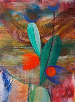 "Fruiting, 2016, acrylic on canvas, 12""x9"""