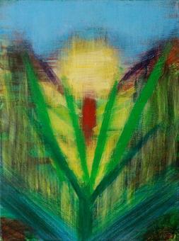 """Heart Flower, 2015, acrylic on canvas, 12""""x9"""""""