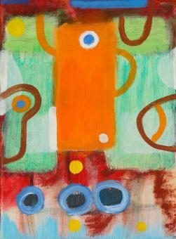 "Plastic Robot, 2015, acrylic on canvas, 12""x9"""