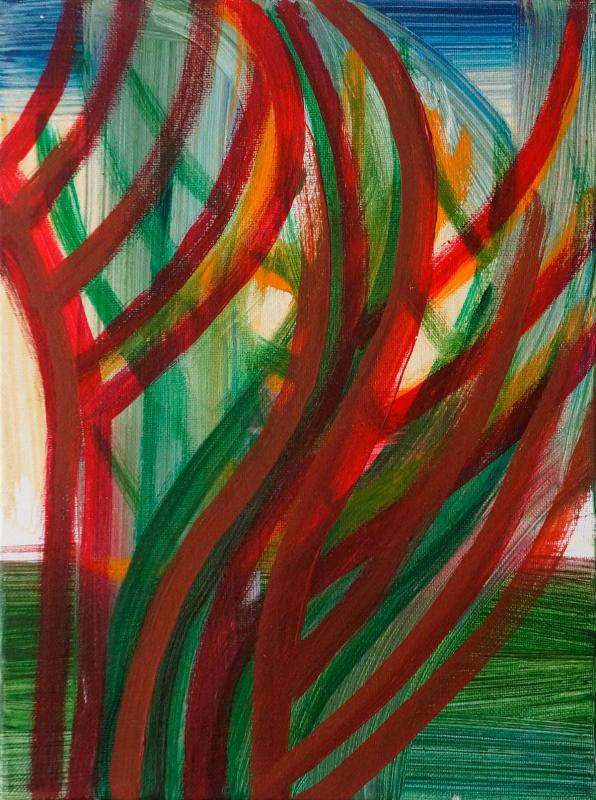 "Red Branching, 2015, acrylic on canvas, 12""x9"""