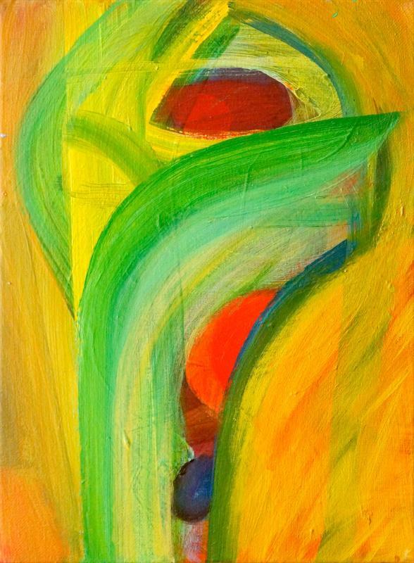"Seed Bearer, 2016, acrylic on canvas, 12""x9"""