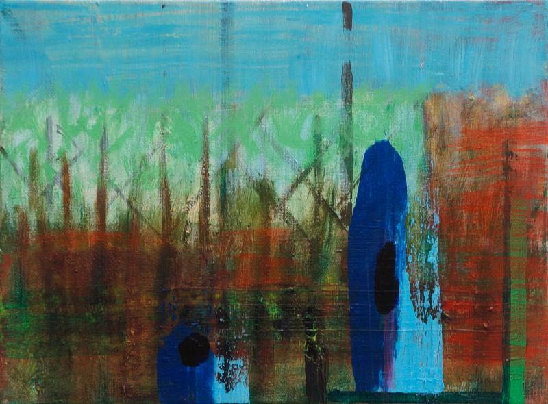 "Ghosts, 2016, acrylic on canvas, 9""x12"""