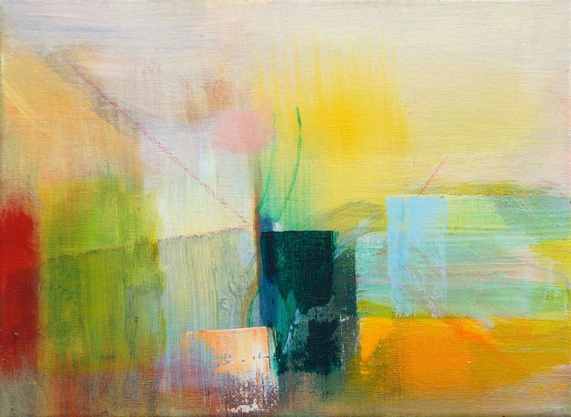 "Painting by Orin Buck, Binding, 2017, acrylic on canvas, 9""x12"""