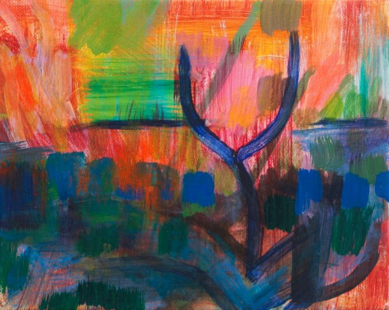 "Blue Tree, 2015, acrylic on canvas, 8""x10"""