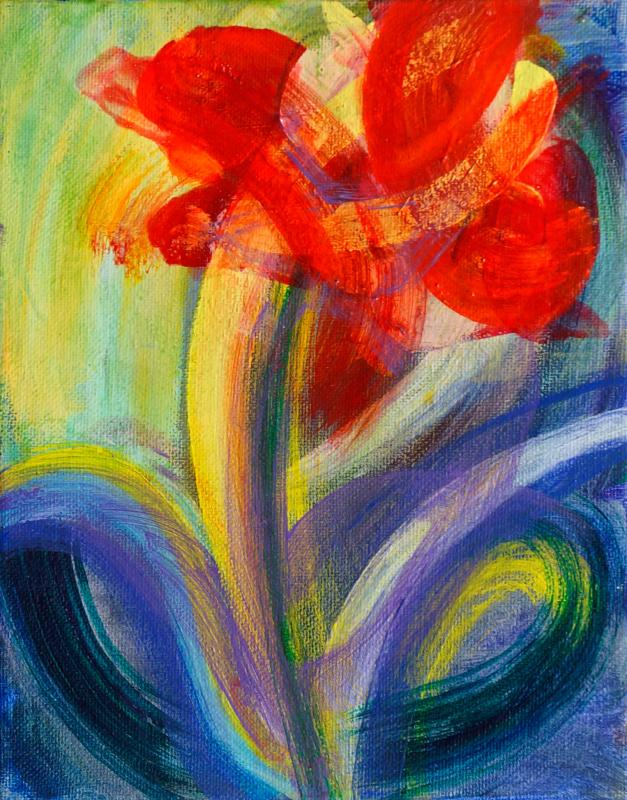 "Flower, 2016, acrylic on canvas, 10""x8"""