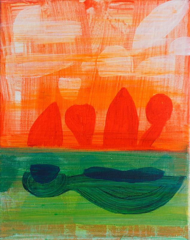 "Traveling, 2016, Acrylic on canvas, 10""x8"""