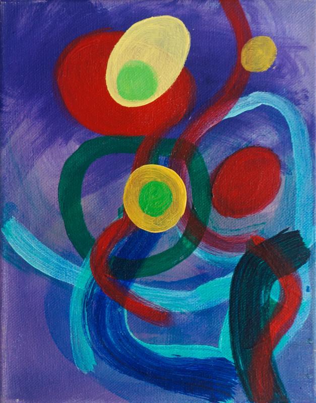"""Egg Dance, 2015, acrylic on canvas, 10""""x8"""""""