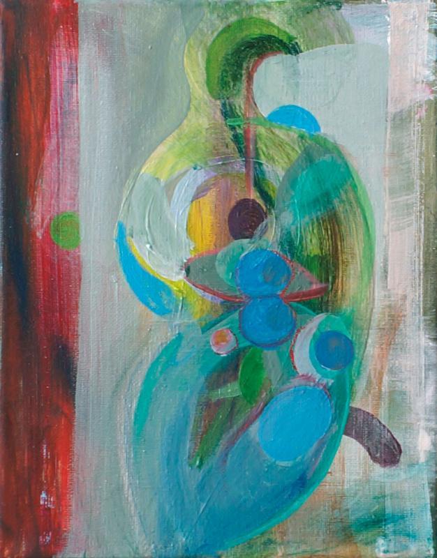 """Painting by Orin Buck, Egg Bird, 2017, acrylic on canvas, 10""""x8"""""""