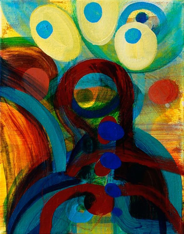 "Painting by Orin Buck, Egg Dream, 2017, acrylic on canvas, 10""x8"""
