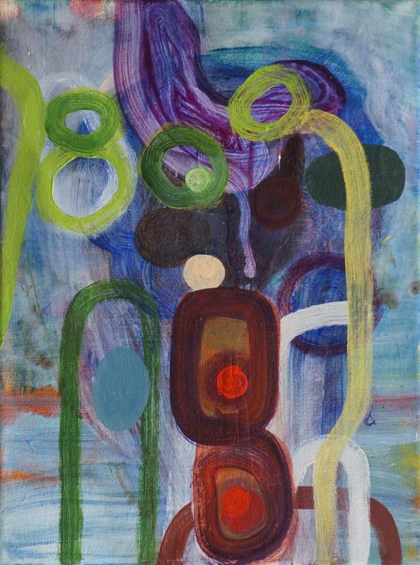 "Knots, 2017, acrylic on canvas, 12""x9"""