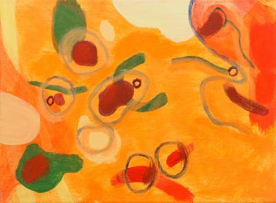 "Orange Wet, 2016, Acrylic on canvas, 9""x12"""