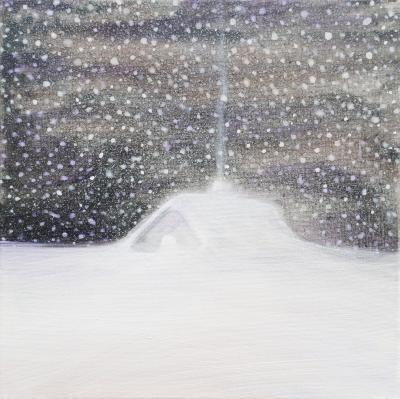 """Painting by Orin Buck, Snug, 2017, acrylic on canvas, 10""""x10"""""""