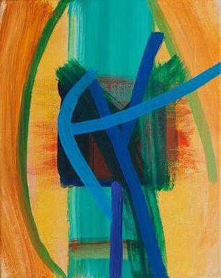 """Blue Event, 2015, acrylic on canvas, 10""""x8"""""""
