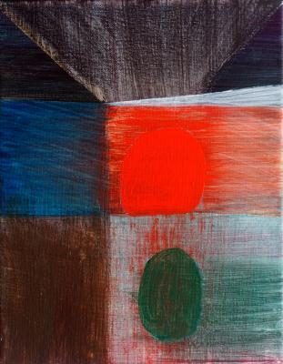 "Visit, 2016, acrylic on canvas, 10""x8"""