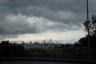 Manhattan Skyline from Metropolitan Ave, 2014, digital photograph by Orin Buck.